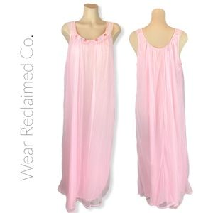 40s 50s VINTAGE Pink Dbl Rayon Chemise Nightgown
